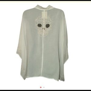 One Teaspoon, off white cut out skull cocoon top